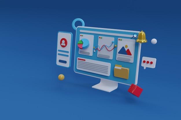 Renderização 3d do painel da web no computador