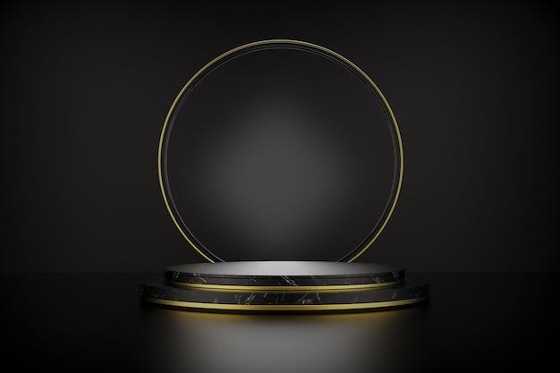 Renderização 3d do pedestal do cilindro de mármore preto com degraus isolados no preto