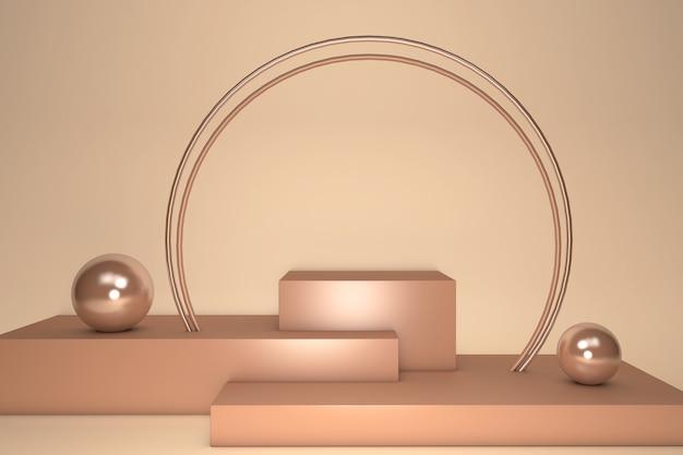 Renderização 3d do pedestal geométrico bege dourado do estúdio isolado em fundo pastel