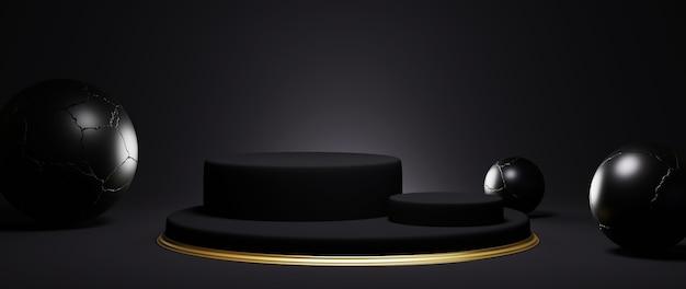 Renderização 3d do pedestal preto e dourado isolado no fundo preto.