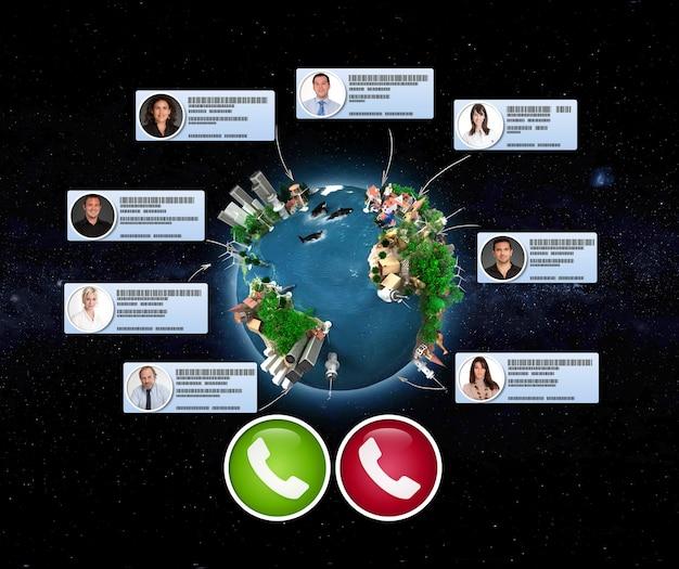 Renderização 3d do planeta terra e uma videoconferência