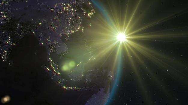 Renderização 3d do planeta terra vista do espaço contra o fundo do céu estrelado e do sol