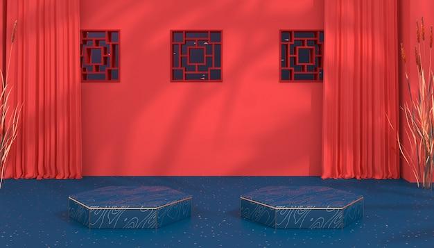 Renderização 3d do plano de fundo geométrico do palco com pódio pentágono para exibição do produto