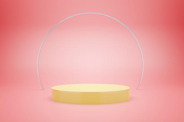 Renderização 3d do pódio amarelo com fundo rosa pastel para publicidade de produtos, estilo mínimo