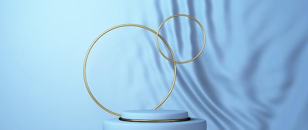 Renderização 3d do pódio azul e dourado com círculos dourados