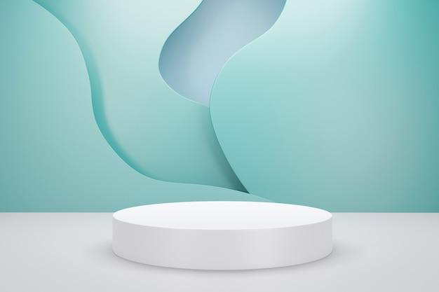 Renderização 3d do pódio branco com fundo de cor pastel de nuvem verde para publicidade de produto