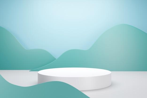 Renderização 3d do pódio branco com nuvem verde ou fundo de cor pastel vegetal para publicidade de produto