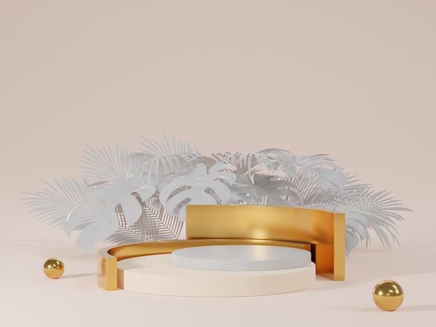 Renderização 3d do pódio branco e dourado com folhas de monstera