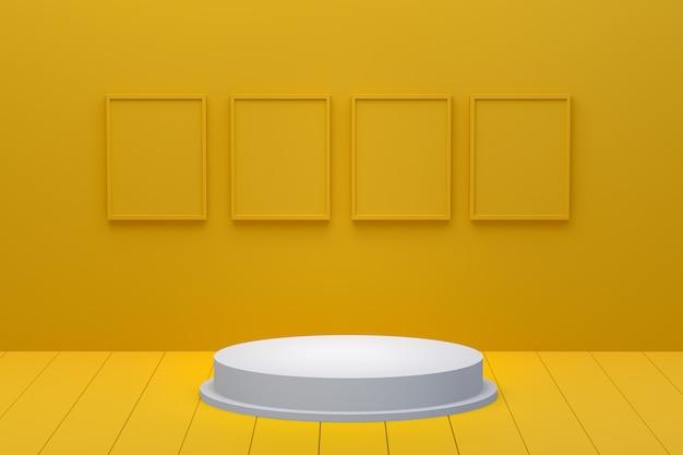 Renderização 3d do pódio branco e quadros amarelos