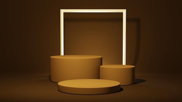 Renderização 3d do pódio cilíndrico e fundo de moldura de ouro. maquete para mostrar o produto.