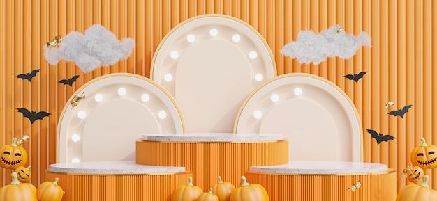Renderização 3d do pódio com conceito de halloween para exibição de produtos