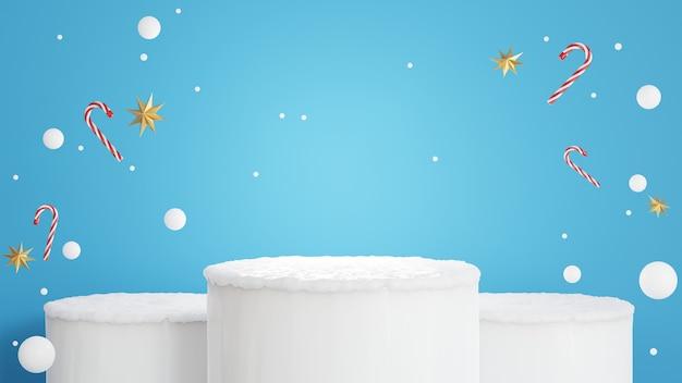 Renderização 3d do pódio com conceito de inverno para exposição de produtos
