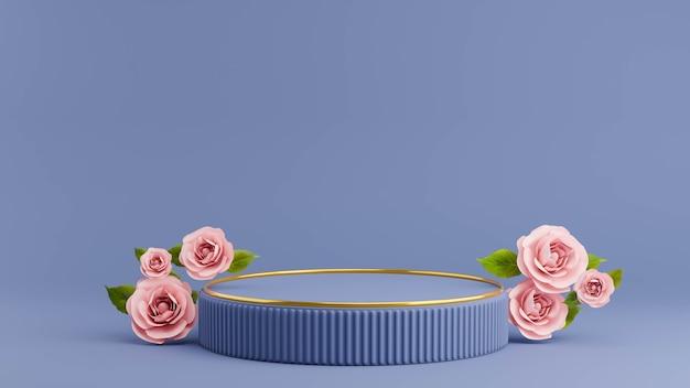 Renderização 3d do pódio com rosa para exposição do produto
