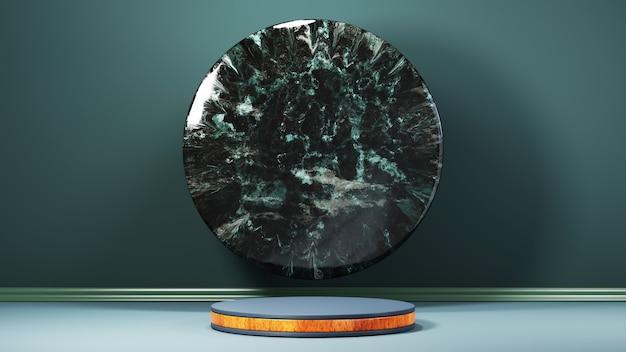 Renderização 3d do pódio de grão de madeira verde e decorado com fundo de mármore verde. maquete para mostrar o produto.