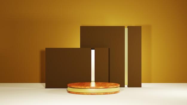 Renderização 3d do pódio de madeira com tiras de ouro para a exibição de produtos em um fundo marrom de sala. maquete para mostrar o produto.