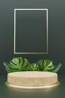 Renderização 3d do pódio de madeira para exposição do produto com folhas de monstera.