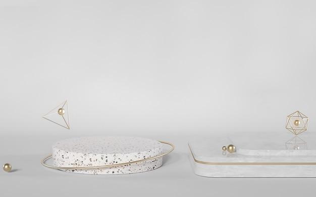 Renderização 3d do pódio de mármore abstrato para exibição de produtos