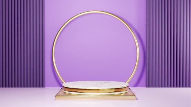 Renderização 3d do pódio de mármore com listras douradas e fundo roxo. maquete para mostrar o produto.