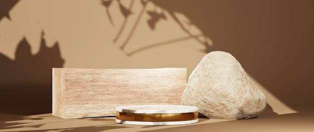 Renderização 3d do pódio de mármore com tiras de ouro para colocar itens em salas de cor marrom claro e fundo de persianas. maquete para mostrar o produto.