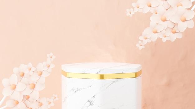 Renderização 3d do pódio de mármore e flor para exibição de produtos