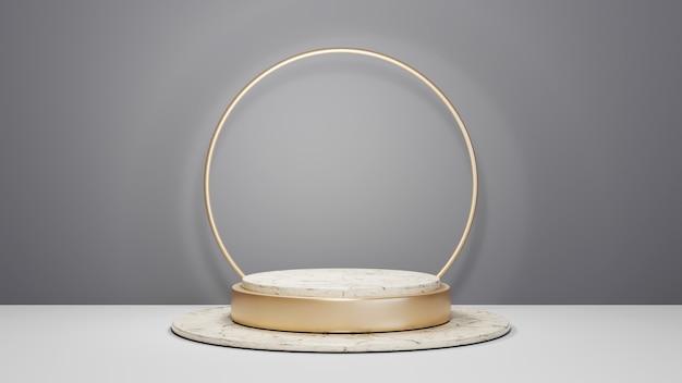 Renderização 3d do pódio de mármore listrado de ouro para exibir produtos em um fundo de sala cinza. maquete para mostrar o produto.