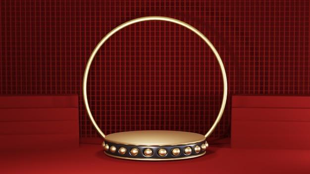 Renderização 3d do pódio de ouro com listras pretas no fundo vermelho da sala. maquete para mostrar o produto.