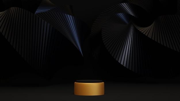 Renderização 3d do pódio de ouro em fundo preto luxuoso