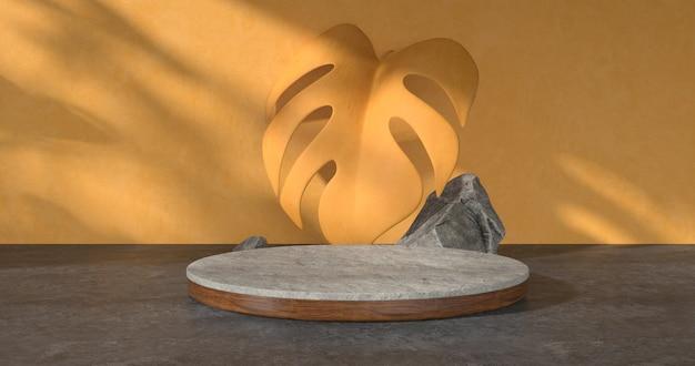Renderização 3d do pódio de pedra e folha amarela.