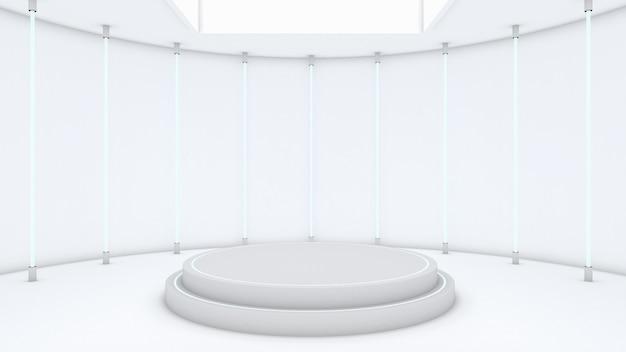 Renderização 3d do pódio do círculo para o produto do programa
