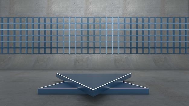 Renderização 3d do pódio do triângulo para o produto de exibição