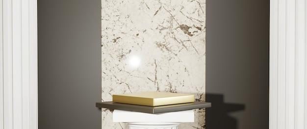 Renderização 3d do pódio dourado nas colunas gregas para exibir produtos e o fundo da parede de mármore. maquete para mostrar o produto.