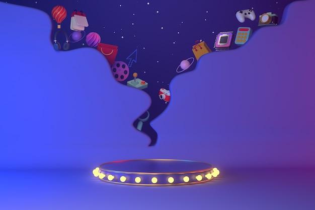 Renderização 3d do pódio e balão de fala.