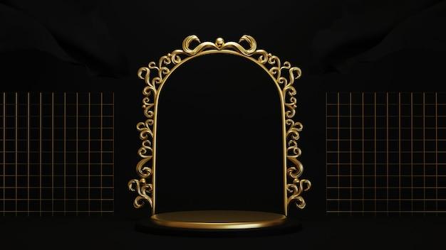 Renderização 3d do pódio em fundo preto com moldura dourada luxuosa