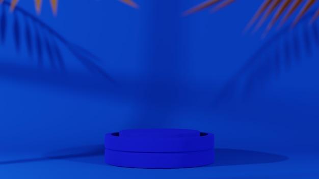 Renderização 3d do pódio. fundo de cor azul. design moderno.
