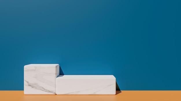 Renderização 3d do pódio geométrico de mármore branco e papel de parede moderno no conceito abstrato.