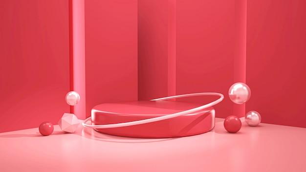 Renderização 3d do pódio minimalista moderno