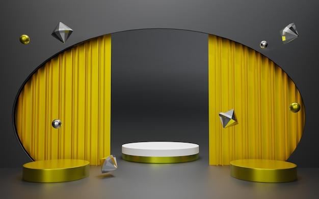 Renderização 3d do pódio premium preto abstrato