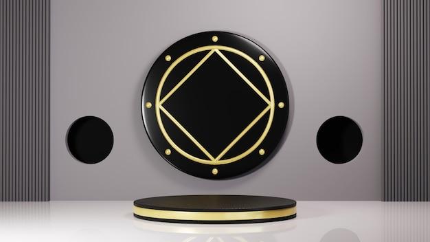 Renderização 3d do pódio preto com listras douradas para exibir produtos em um fundo de sala em tons de cinza. maquete para mostrar o produto.