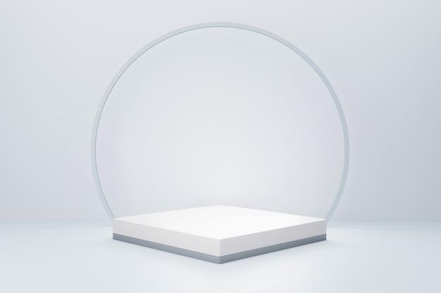 Renderização 3d do pódio quadrado branco com fundo branco para publicidade de produtos, estilo minimalista