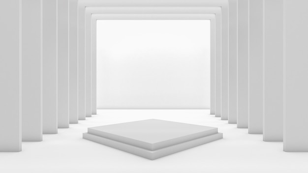 Renderização 3d do pódio retângulo para mostrar o produto