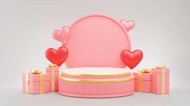 Renderização 3d do pódio rosa com conceito de dia dos namorados para exibição de produtos
