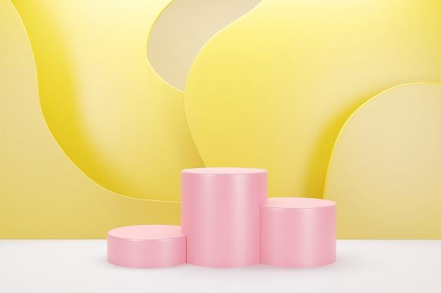 Renderização 3d do pódio rosa com fundo de cor pastel de nuvem amarela para publicidade de produtos
