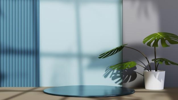 Renderização 3d do pódio slim para exibição de produtos em uma sala azul decorada com fundo de plantas ornamentais. maquete para mostrar o produto.