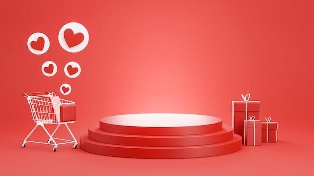 Renderização 3d do pódio vermelho com conceito de compras para exposição de produtos