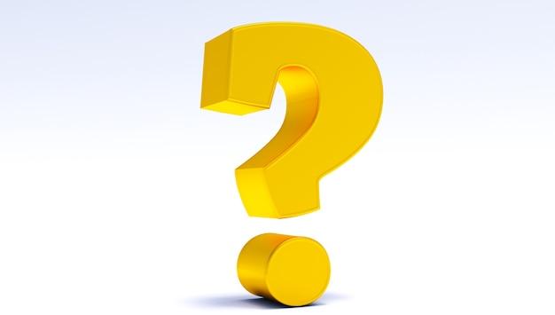Renderização 3d do ponto de interrogação dourado em um fundo branco, pergunta em fundo branco