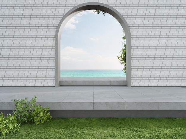 Renderização 3d do portão em arco no deck cinza com vista para o mar