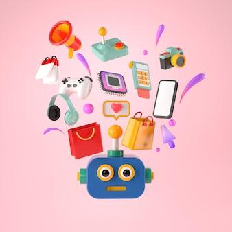 Renderização 3d do robô e compras online.