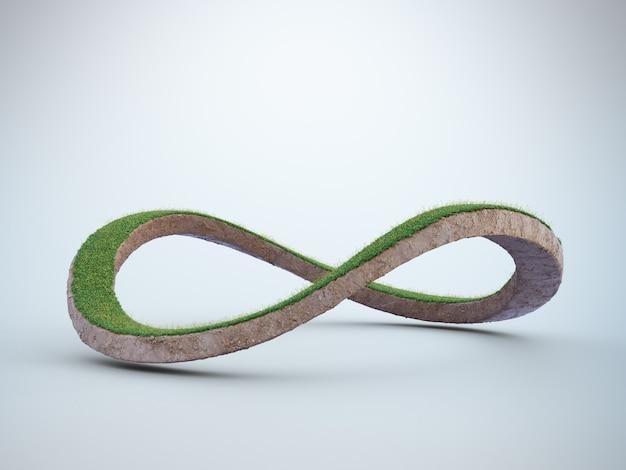 Renderização 3d do símbolo do infinito no conceito de conservação ambiental