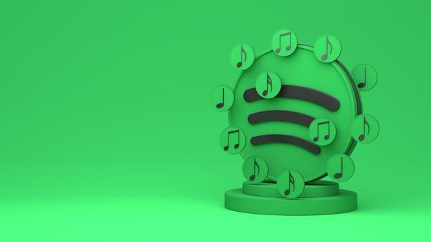 Renderização 3d do spotify com espaço de cópia