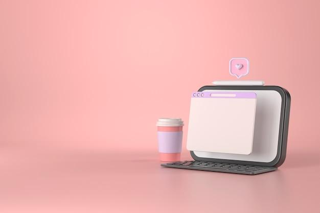 Renderização 3d do tablet e da xícara de café.